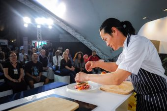 Celebrity chef Jun Tanaka cooked delicious dishes in front of a packed audience