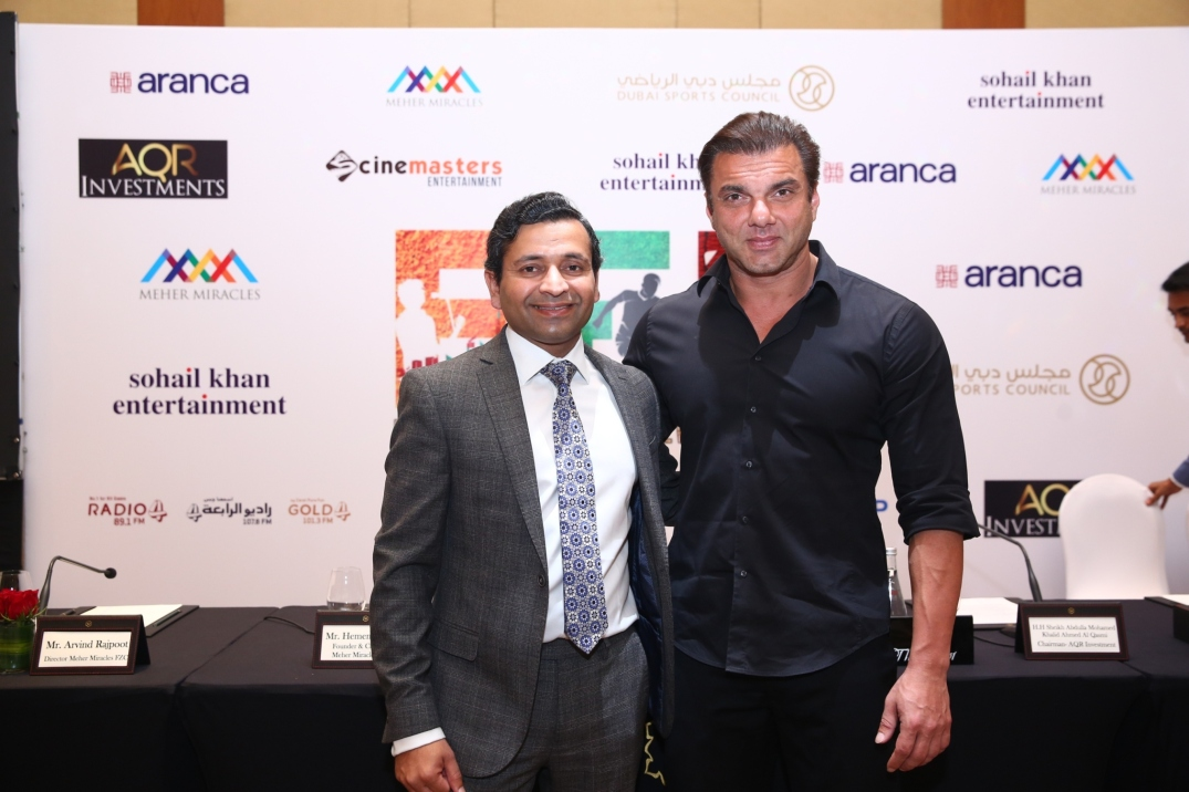 Hemendra Aran Founder & Chairman of Aranca and Meher Miracles with Bollywood Celebrity Sohail Khan