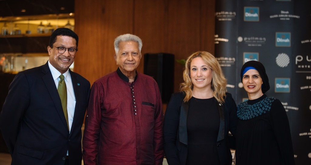 Mr Dilhan Fernando CEO of Dilmah, Mr J. Fernando Founder of Dilmah, Ms Vanessa Chinopoulou Marketing & Communications Director Pullman Dubai Creek City Centre, Ms Alia Khan CEO IFDC